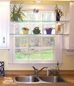 diy glass shelves in front of kitchen window, shelving ideas, See through glass window shelves allow light in and give you a spot to set your plants Kitchen Redo, New Kitchen, Kitchen Small, Small Kitchens, Kitchen Plants, Kitchen Ideas, Glass Kitchen, Rental Kitchen, Kitchen Corner
