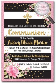 Vintage Pink, Black, and Gold Communion Invitation for Girls, professionally printed first communion invitations, first communion invitation ideas for girls, vintage communion invites, girls first holy communion, girls confirmation invitations
