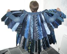 """""""A blue tie and denim coat made from upcycled ties and bits of a denim jacket"""" Entry by Anke Kadelka Williams of hags bats https://www.facebook.com/photo.php?fbid=10150890333571784=a.10150882276101784.407241.127384926783=3"""