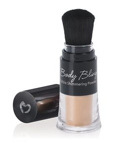 Kissable Body Bling shimmers luxuriously for all occasions. Body Bling's elegant powder shimmers in rich shimmering gold and can be worn all day and night. .15 oz. / 4.3 gm.     Features  Beautiful shimmering dusting powder accentuates the skin. Highlight eyes and cheekbones for added dimension. Gorgeous container with integrated brush. Mix with clear lip gloss for added sparkle  www.marissaruland.pureromance.com
