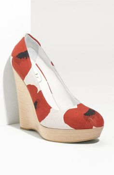 floral wedge high heel red flowers on white background