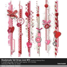 Readymade Tall Strips: Love No. 02 pink love hearts embellishment clusters #readymade #designerdigitals
