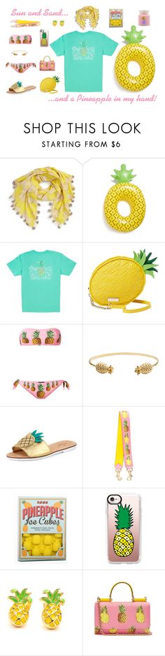 Pineapples by southernshirt on Polyvore featuring Big Mouth, Dolce&Gabbana, Kate Spade, Rachel Jackson, San Diego Hat Co., Casetify, Holly's House and Flamingo Candles