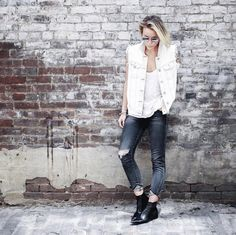 Pin for Later: 42 Fashion-Girl Ways to Style a White Tee Edged Up With a Frayed Denim Waistcoat and Pointed Boots