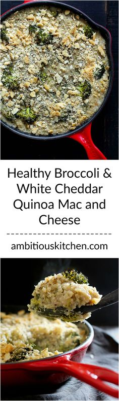... mac and cheese with broccoli, a creamy white cheddar sauce & a cracker