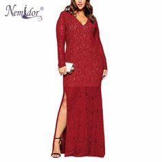 Nemidor 2017 Autumn Women V-neck Elegant Party Dress Plus Size 6XL 7XL 8XL  Sexy 9d7921776337