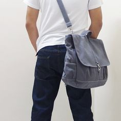 MAXX Canvas Back Pack in Gray - Backpack / Cross body Messenger / Shoulder bag. $65.00, via Etsy.