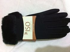 New Women's Black Isotoner Stretch Gloves Faux Fur Cuff One Size in Clothing, Shoes & Accessories, Women's Accessories, Gloves & Mittens | eBay