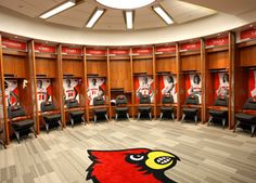 University of Louisville women's basketball locker room, Louisville, KY. Ncaa Basketball Teams, University Of Louisville Basketball, Best Basketball Shoes, College Basketball, Sports Office, Sports Locker, Louisville Cardinals, Louisville Kentucky, Peyton Siva