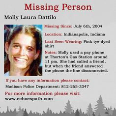 The disappearance of Molly Laura Dattilo. Have You Seen, Did You Know, Stick Art, Bring Them Home, Indianapolis Indiana, Criminology, Missing Persons, Cold Case, True Crime