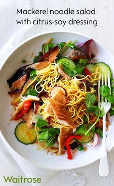 If you're looking for delicious new dinner ideas that don't take all evening to cook then our mackerel noodle salad will be a hit. Serve with a citrus-soy dressing for added flavour. See the full recipe on the Waitrose website. Fun Easy Recipes, Fish Recipes, Seafood Recipes, New Recipes, Vegetarian Recipes, Dinner Recipes, Easy Meals, Cooking Recipes, Healthy Recipes