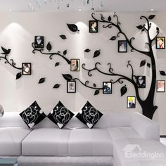 Alicemall Wall Stickers Photo Frames FamilyTree Wall Decal Easy to Install &Apply DIY Photo Gallery Frame Decor Sticker Home Art Decor (black-right) Living Room Partition, Room Partition Designs, Family Wall Decor, Family Tree Wall, Tree Wall Decor, Art Decor, Ceiling Design, Wall Design, Creative Wall Decor