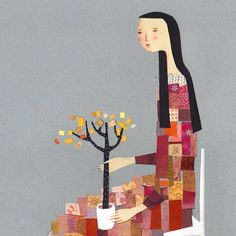"""""""Tiny tree"""" this is a print of an original collage I made on a grey pape"""