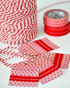 Baker twine and masking tape Christmas Tags