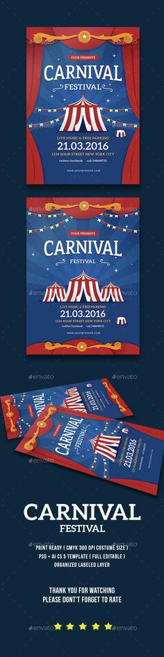 Carnival Festival Flyer / Poster — Photoshop PSD #roller coaster #circus • Download here → https://graphicriver.net/item/carnival-festival-flyer-poster/15021886?ref=pxcr