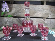 Val St. Lambert Crystal Decanter and 6 Cordial by TheStorageChest