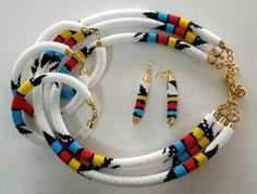 African necklace, Zulu necklace, Maasai Beaded Necklace with matching earrings,Yellow bead necklace Diy African Jewelry, African Accessories, African Necklace, African Beads, African Bracelets, Fashion Accessories, Fabric Earrings, Wooden Earrings, Fabric Jewelry