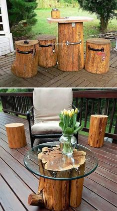 19 cool DIY ideas to creatively use logs and logs in your garden … - Diy Garden Projects Harvey Furniture, Log Furniture, Outdoor Furniture Sets, Outdoor Decor, Furniture Design, Diy Garden Projects, Diy Wood Projects, Outdoor Projects, Cool Diy
