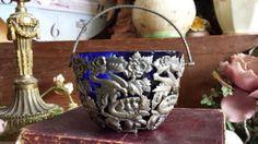 Vintage Silver Plated Birds Nest Sugar Bowl Blue Glass Liner