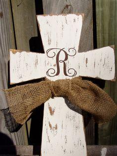 Monogram Wooden Distressed Cross Rustic Wedding by KPATTONDESIGNS, $50.00