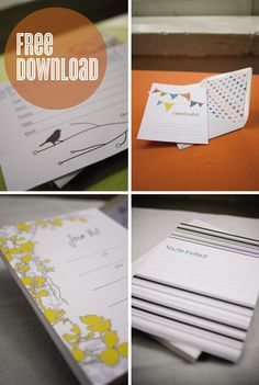 Free printable fill-in-the-blank invitations. Nice & quick for a simple shower or party!