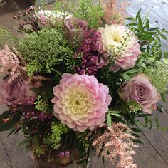 Dahlias, Astilbe, Memory lane roses, Ammi, Wax flower and Green bell made by Catherine