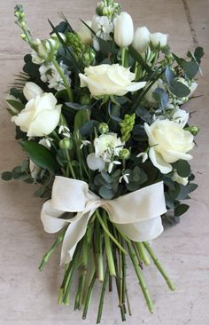 Funeral Flower Arrangements, Funeral Flowers, Funeral Tributes, Hand Tied Bouquet, Green Plants, Wedding Looks, Annie, Tulips, Floral Wreath