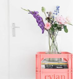 Evian bottle crates, by zilverblauw. Home Interior, Interior And Exterior, Flower Nursery, Large Paper Flowers, Home Trends, Jolie Photo, Living Room Colors, Flower Decorations, House Colors