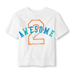 s Boys Short Sleeve '2 Awesome' Graphic Tee - White T-Shirt - The Children's Place