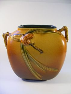 Roseville Pottery Vase Pine Cone Pillow 1935 by megsantiques, $495.00