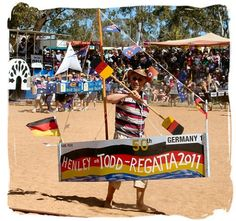 The 'Henley-On-Todd' dry river Regatta at Alice Springs, Central Australia