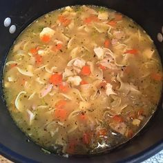 Egg noodles, carrots, celery, and chicken are simmered in broth seasoned with basil and oregano. Chicken noodle soup in 30 minutes! Chicken Tortilla Soup, Canned Chicken, Chicken Noodle Soup, How To Cook Chicken, Chili Recipes, Soup Recipes, Wonderful Recipe, Chicken And Vegetables, Stuffed Peppers