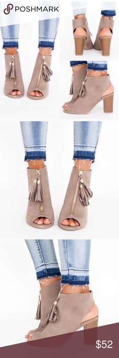 """Peep Toe Taupe Open Toe Tassel Cage Bootie Adorable booties! I sold a similar style a month ago and they were a huge hit! Perfect color for this fall! Sizes 5.5-10. 3.5"""" block heel. Perfect for the office or for outings! So versatile and fashionable! TRUE TO SIZE Shoes Ankle Boots & Booties"""