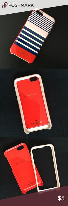 Kate Spade iPhone case (6/6s) Kate Spade iPhone case for Apple's model 6/6s. Has been used but it is still in good shape. Color is red, blue, white and pink. Great design! Kate Spade Accessories Phone Cases