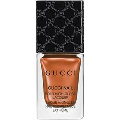Gucci Iconic Bronze, Bold High-Gloss Lacquer ($27) ❤ liked on Polyvore featuring beauty products, nail care, nail polish, beauty, bronze, nails, shiny nail polish, gucci and glossy nail polish