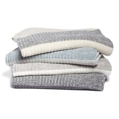 Barefoot Dreams Heathered Stripe Throw (€115) ❤ liked on Polyvore featuring home, bed & bath, bedding, blankets, fillers, throws, decor, bedroom, light weight blankets and barefoot dreams
