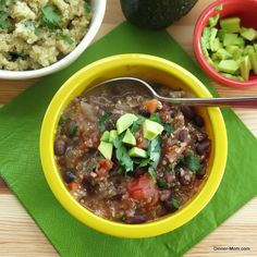 Black bean soup over cilantro lime quinoa and topped with fresh avocado. #healthy #vegetarian