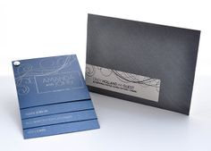 This navy and silver swirled wedding invitation is very unique. It includes a fold out concept that keeps all your inserts organized.  Invitation, day of events, reply card directions all in one. The navy and silver #weddinginvite Love this wedding invitation set but interested in tailoring it to suite your needs? At shecreates we can make any design changes to make them fit within your budget or design needs. www.shecreates.ca OR www.facebook.com/... shecreates   stationery + design Wedding Invitation Sets, Invitation Ideas, Stationery Design, Destination Weddings, Budget, Concept, Events, Facebook, Navy