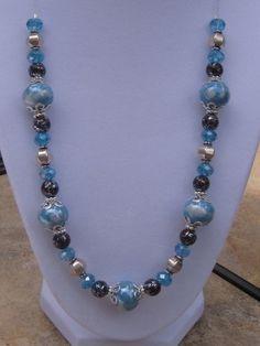 Blue Ceramic Beaded Necklace, Silver Necklace, Beaded Jewelry, Handcrafted Jewelry, Fashion Jewelry. $25.00, via Etsy. by Mrs. C.Jackson