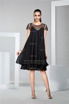 A-Line/Princess Bateau Knee-length Chiffon Cocktial Dress - IZIDRESS.com at IZIDRESS.com