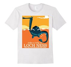 Mens 'Loch Ness Monster' Scotland travel poster. 2XL Whit...  Bargain deal!