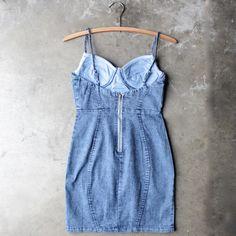 denim bodycon dress - dark wash - shophearts - 1