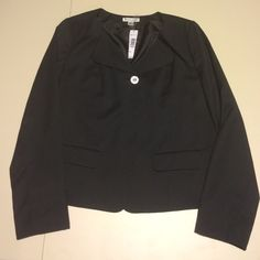 """Navy to black Pendleton jacket, new with tags Single button, heart lapel, double vented pocket, short. Size 16 darling basic """"first impressions."""" 22 in bust, 23.5 in shoulder seam to waist. Stylish and great for spring. Pendleton Jackets & Coats"""