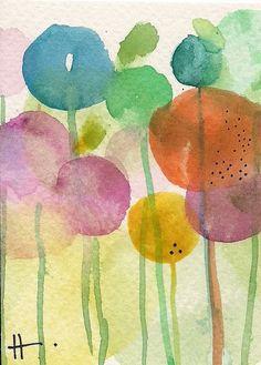 "AcEo Original Watercolor Ink Cha Cha Garden 2.5"" x 3.5""  Studio B3Art #Abstract Soft Color"