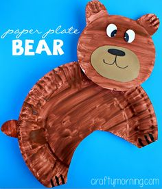 """This paper plate bear craft is a fun and easy way for your students to work on their fine motor skills. Be sure to let them know that wild animals like bears are just that--wild! They do NOT belong in zoos or any place that uses them for """"entertainment"""". #ArtsAndCrafts #Animals #AnimalRights #CaptivityKills #KindClassroom #TeachKindness"""