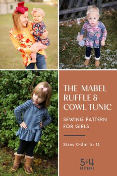 We love the pretty and feminine look of our Mabel Ruffle and Cowl Tunic sewing pattern for girls! Choose from sleeve length and neckband options. Does your girl love frills? Add the ruffle or leave it off if your girl prefers to keep things simple. Tunic Sewing Patterns, Jumper Patterns, Smocking Patterns, Sewing Patterns For Kids, Baby Patterns, Clothing Patterns, Teenage Girl Outfits, Kids Outfits Girls, Diy Clothing