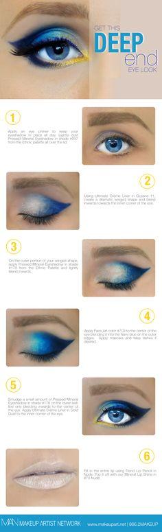 Feeling Blue? Get this step-by-step eye makeup look.