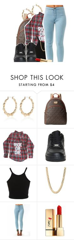 """Kodak"" by deasia-still-thugin-honey ❤ liked on Polyvore featuring beauty, River Island, MICHAEL Michael Kors, NIKE, Miss Selfridge and Yves Saint Laurent"