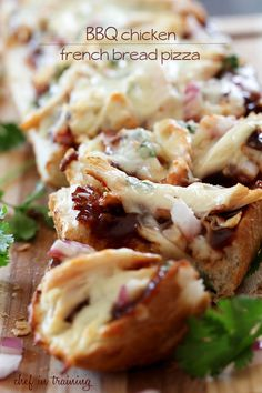 BBQ Chicken French Bread Pizza [DELICIOUS and can be ready in 20 minutes flat from start to finish!] via Chef in Training #tailgating