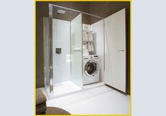 Là dove c'era la vasca ora c'è una doccia. E uno spazio lavanderia. VismaraVetro presenta Twin, un progetto sviluppato parallelament da Idelfonso Colombo e Daniele Di Vitore, che reinventa lo spazio e